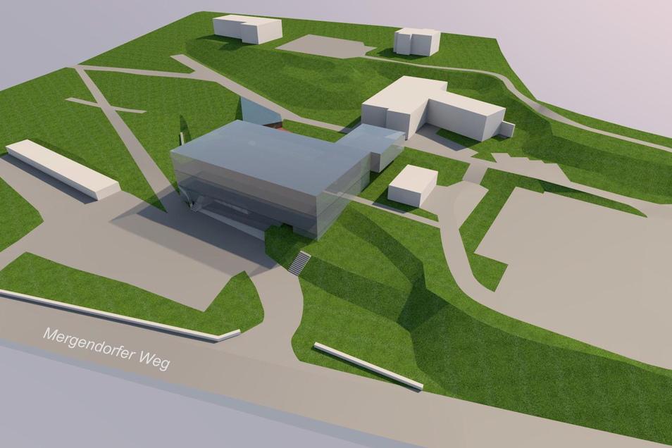 Eine Visualisierung der geplanten neuen Rettungswache - am Hang hinter dem Riesaer Krankenhaus.