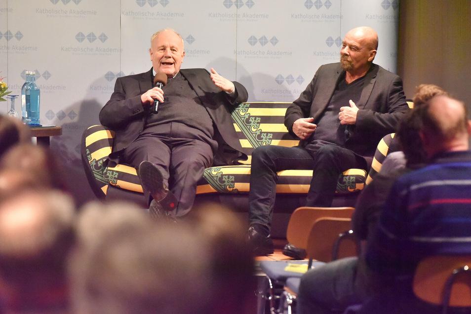 "Zwei Politiker a. D. eröffneten am Donnerstag die Veranstaltungsreihe ""Sachsenofa"": Georg Milbradt (links) und Heinz Eggert."
