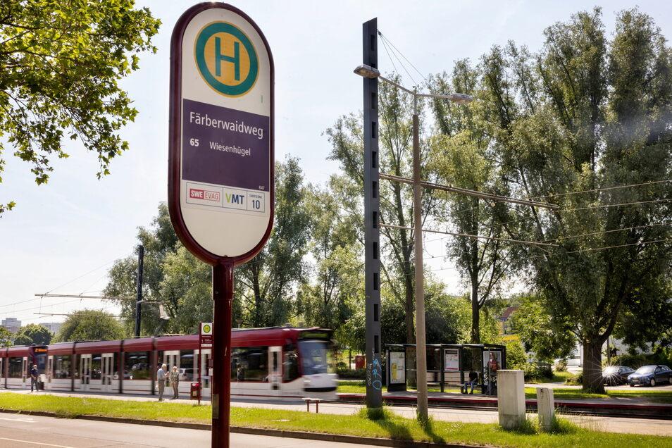 Eine Straßenbahn fährt in die Haltestelle Färberwaidweg in Erfurt ein.Dort wurden am Morgen zwei Menschen mit einem Messer angegriffen und verletzt.