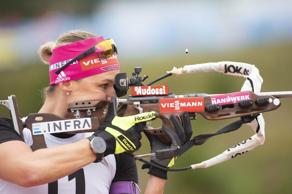 Denise Herrmann verfehlte in Altenberg insgesamt fünf Scheiben, wurde aber trotzdem Dritte.