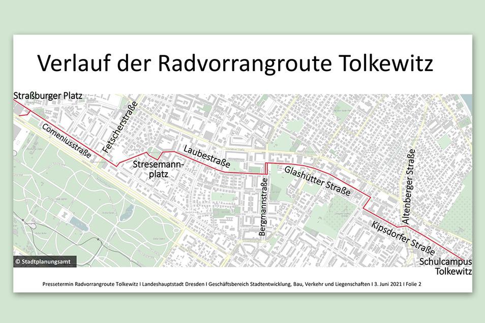 Vom Straßburger Platz führt die neue Fahrradstraße durch einige Wohngebiete bis nach Tolkewitz.