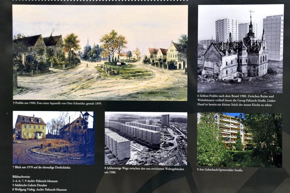 Die Tafel am Palitzschhof zeigt alte Bilder des ehemaligen Dorfkerns und des Prohliser Schlosses, das 1980 abgebrannt ist.