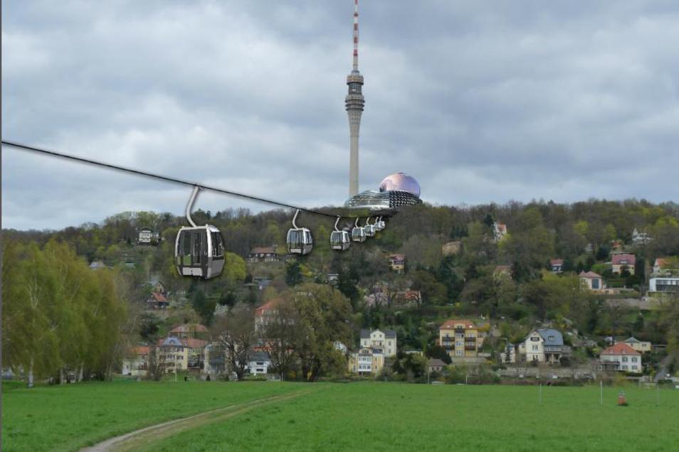 Diese Vision von einer Seilbahn zum Fernsehturm ist veraltet, sie stammt aus dem Jahr 2015. Im Oktober will der Fernsehturmverein mit der Firma Leitner ein neues 3-D-Modell präsentieren.