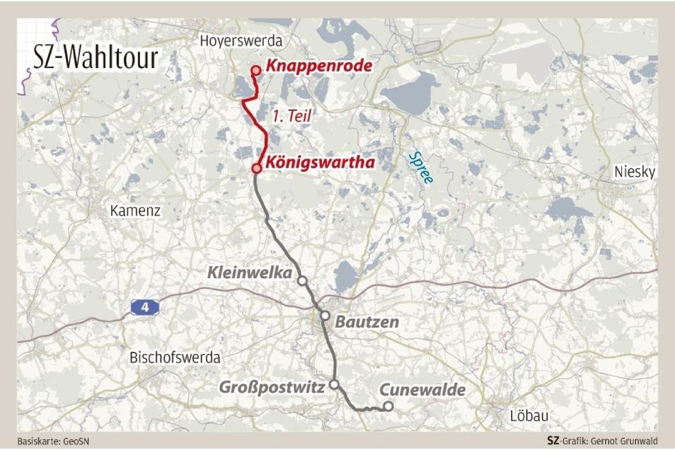 Die erste Etappe der SZ-Wahltour führte am Montag von Knappenrode nach Königswartha.
