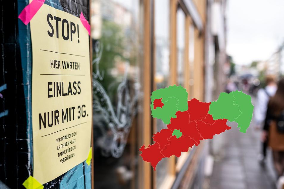 Klettert die Inzidenz in einem Landkreis in Sachsen konstant über 35, kommt dort die 3G-Regel - zum Beispiel auch in der Innengastronomie.