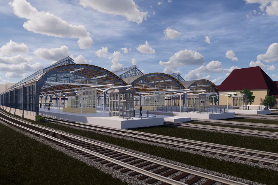 So soll die Görlitzer Bahnsteighalle nach ihrer Sanierung aussehen. Im Frühling 2023 sollte es eigentlich so weit sein, doch nun verzögert sich der Bau.
