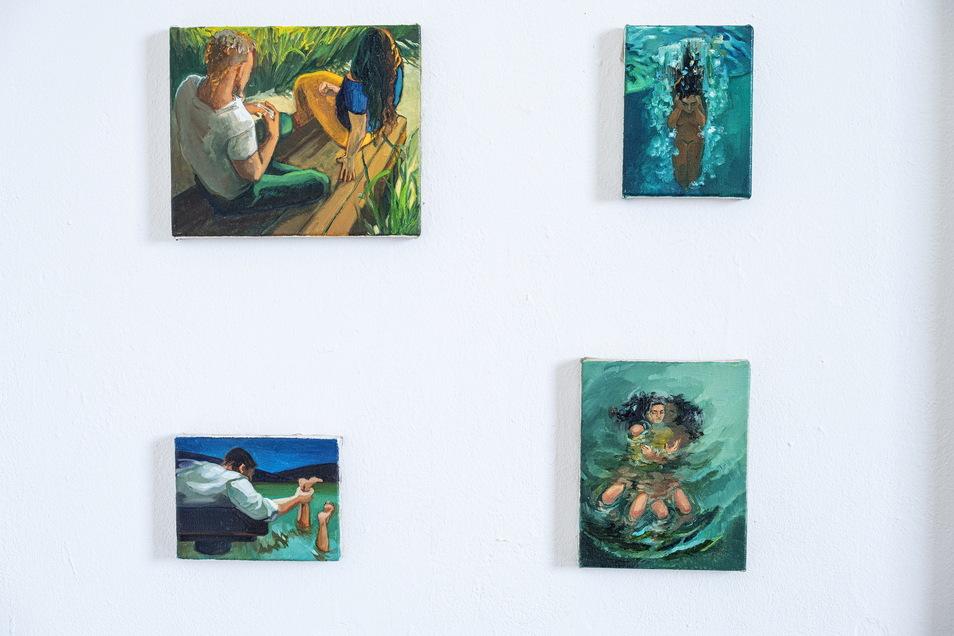 Sie malen auch noch, die jungen Künstlerinnen. Hier ein Ausschnitt aus der 48-teiligen Arbeit von Maria Chepisheva.