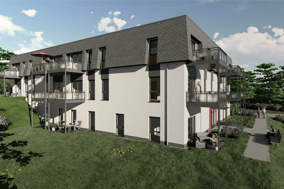 18 altengerechte Wohnungen sollen am Raschaer Berg in Großpostwitz ab Herbst 2022 Platz für bis zu 36 Menschen bieten. Im Erdgeschoss des Neubaus soll eine Tagespflege eingerichtet werden.