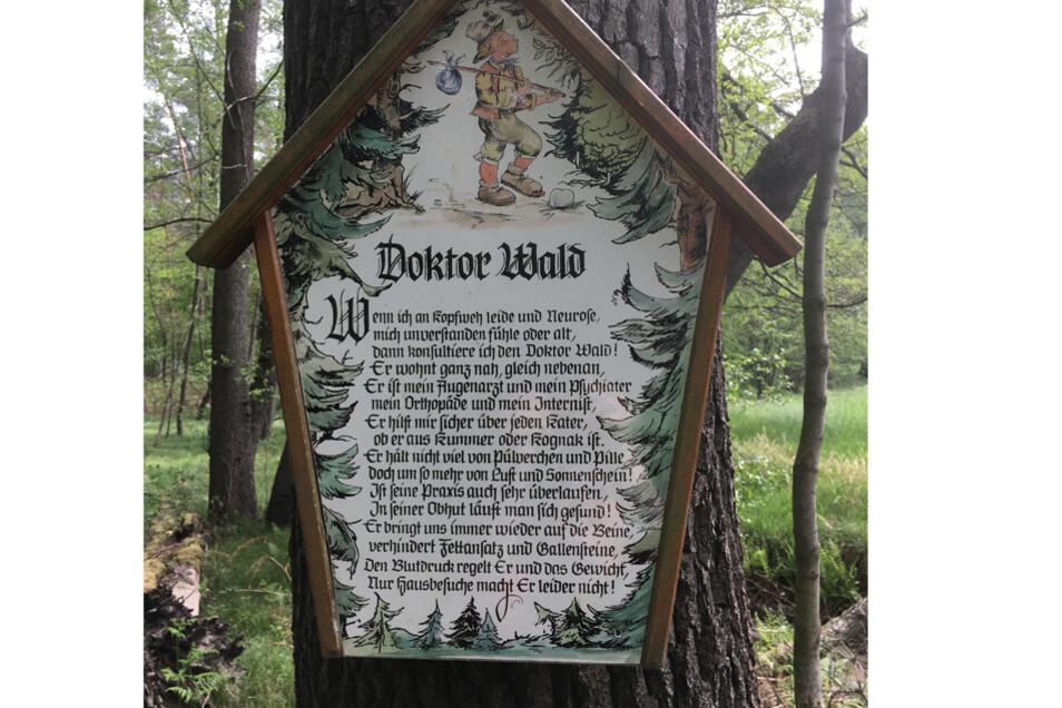 Dieses Schild steht in der Nähe des Fünfhufenteichs bei Seifersdorf.