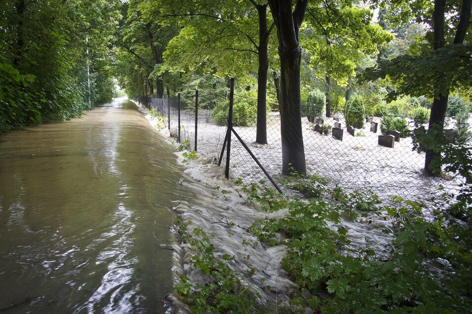Wie eine Springflut überwindet die Neiße am 7. August 2010 den Rad- und Fußgängerweg in Hagenwerder und schießt in den Friedhof des Görlitzer Ortsteils.
