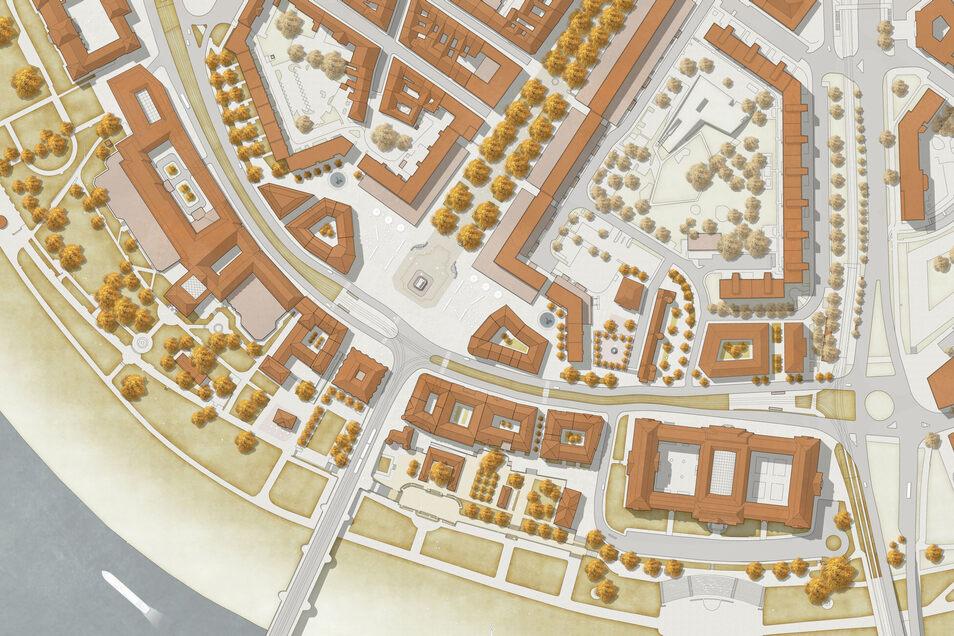 So sieht der Siegerentwurf für den Neustädter Markt aus. Der Bauausschuss empfiehlt jedoch Änderungen. So sollen am Goldenen Reiter keine neuen Häuser gebaut werden.