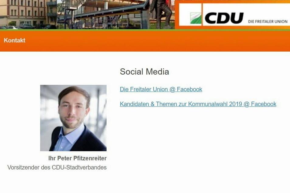Nanu? Die Internetseite der CDU Freital zeigt immer noch Peter Pfitzenreiter als Vorsitzenden. Der ist aber seit 22. Juni 2020 kein Mitglied mehr. Screenshot vom 1.2.2021