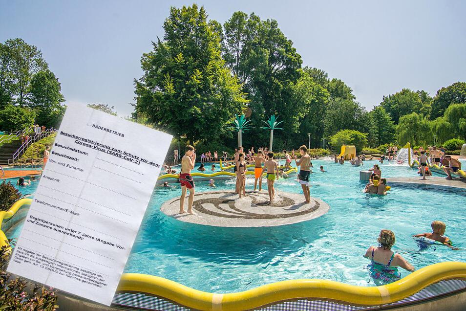 Vorm Badespaß im Bautzener Spreebad muss am Einlass ein Zettel mit den Kontaktdaten ausgefüllt werden.