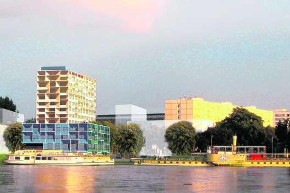 Erste Pläne für eine Neugestaltung der Fassade gab es schon 2014. Diese Variante ist bis heute der Favorit des Hotel-Eigentümers, nun sollen Experten entschieden.