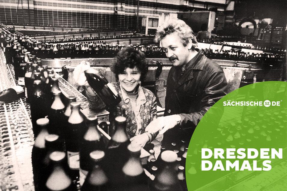 Die neue 1981 gebaute Brauerei in Coschütz ist die wichtigste Investition der einstigen DDR-Brauindustrie. Rund 1,5 Millionen Hektoliter Bier sind damals dort gebraut worden.