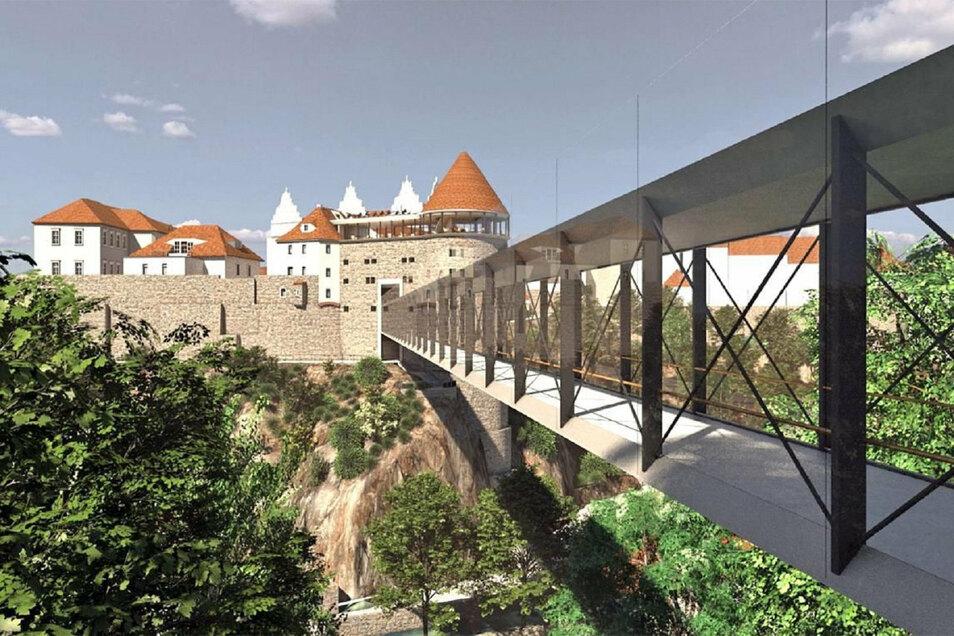 Das ist einer der Entwürfe für eine mögliche neue Spreebrücke vom Protschenberg zum Langhaus auf der Bautzener Ortenburg.