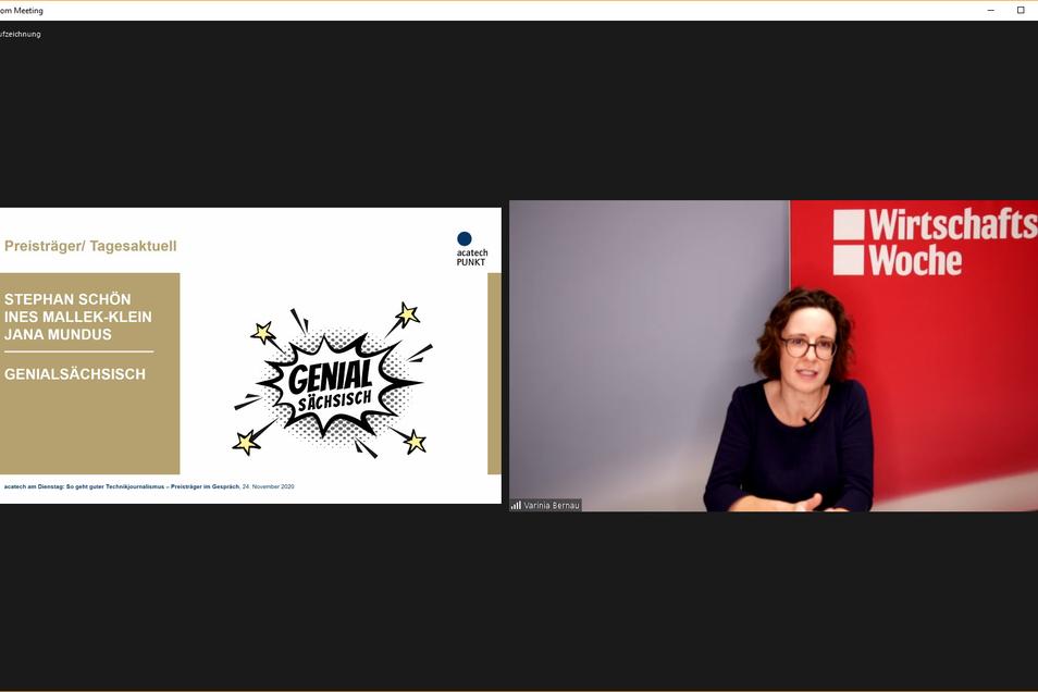Varinia Bernau hält die Laudatio für Stephan Schön, Jana Mundus und Ines Mallek-Klein. Bernau selbst leitet in der Wirtschaftswoche das Ressort Innovation & Digitales – Erfolg.