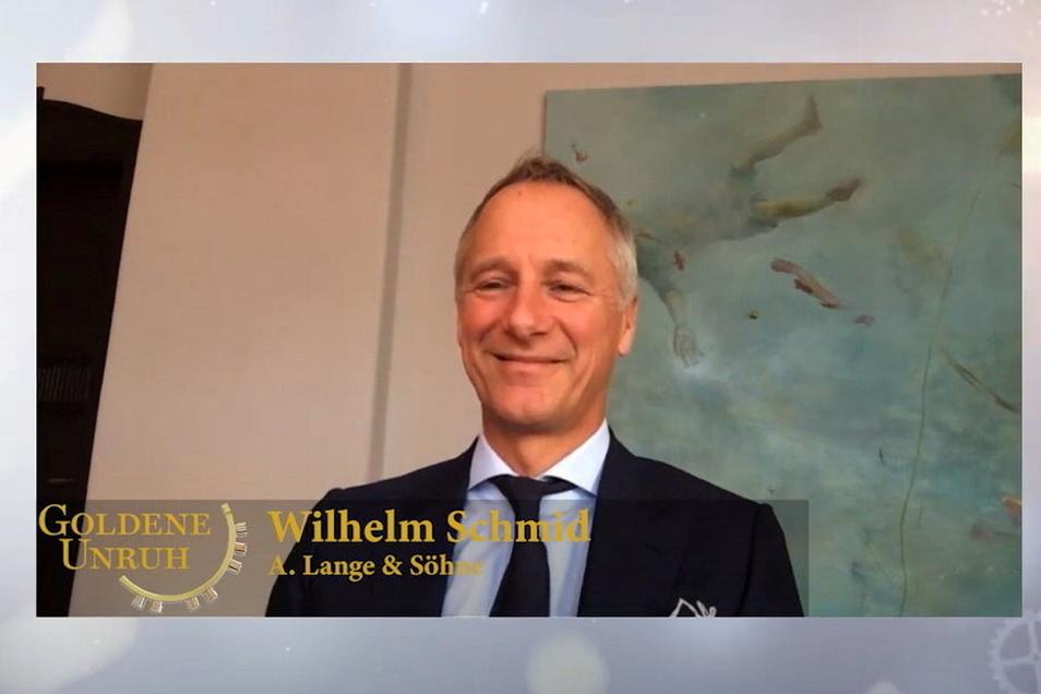 Lange-Geschäftsführer Wilhelm Schmid nahm virtuell an der Verleihung des Uhrenpreises Goldene Unruh teil.