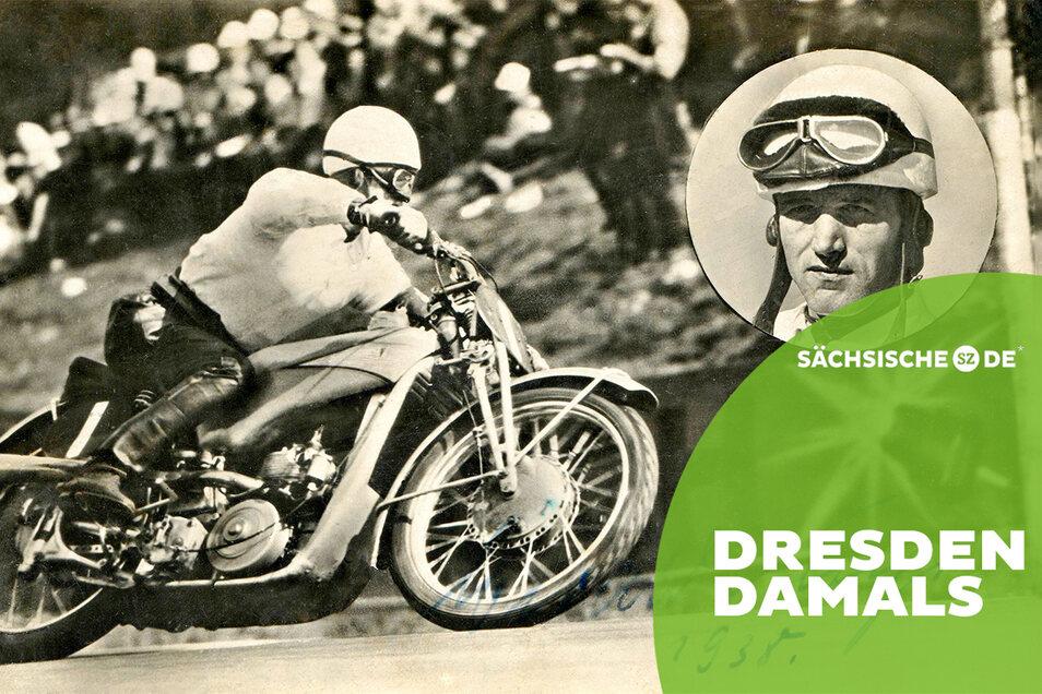 Autogrammkarte Ewald Kluge Rennfahrer Weixdorf Spinne 1938 Foto: Archiv