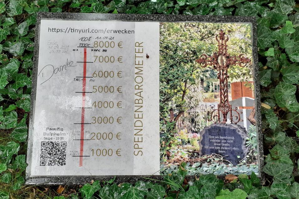 Auf der Grabanlage der Bulnheims auf dem Bautzener Taucherfriedhof können Besucher sehen, wann welche Spendensummer erreicht wurde.