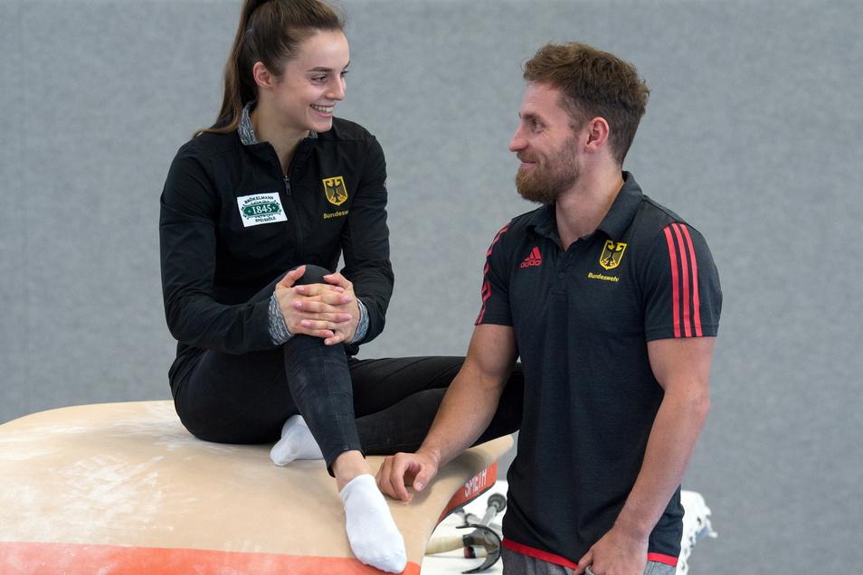 Gemeinsam zur WM nach Japan: Pauline Schäfer-Betz und Andreas Bretschneider trainieren beim KTV Chemnitz und bieten selbst Turn-Camps an.
