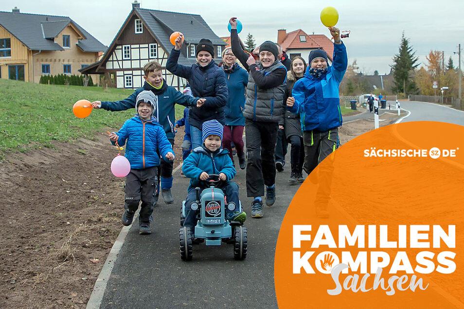 Kinder und Einwohner freuen sich über einen neuen Geh- und Radweg, der vor einiger Zeit im Tharandter Ortsteil Spechtshausen geschaffen wurde.