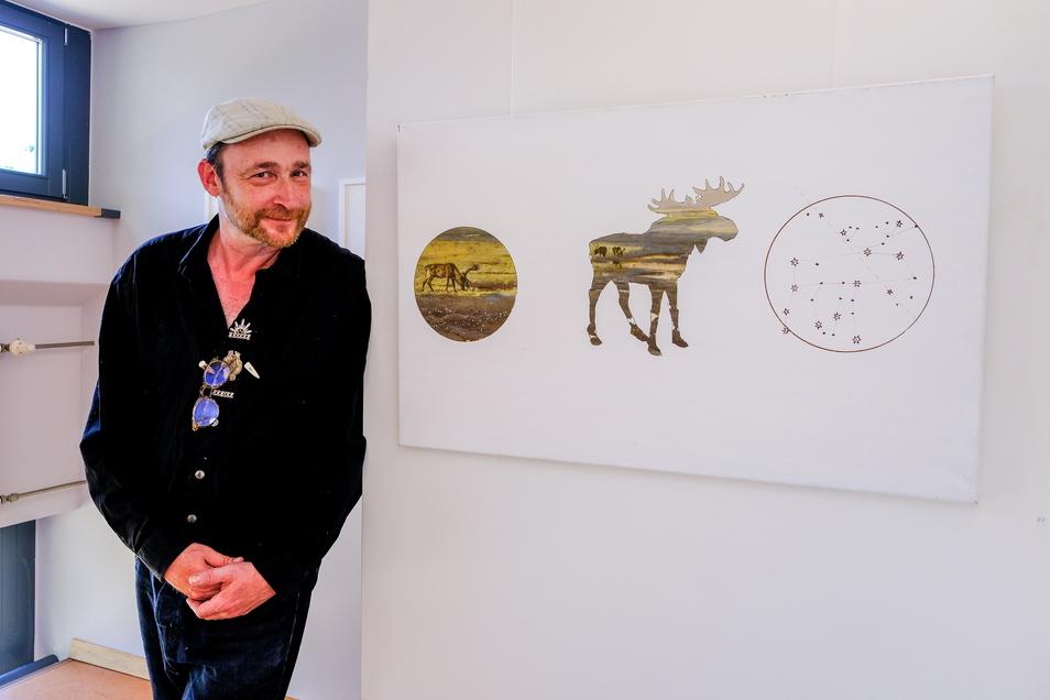 Künstler Michael Melerski bei der Eröffnung des Moritzburger Kunstsommers im Roten Haus.