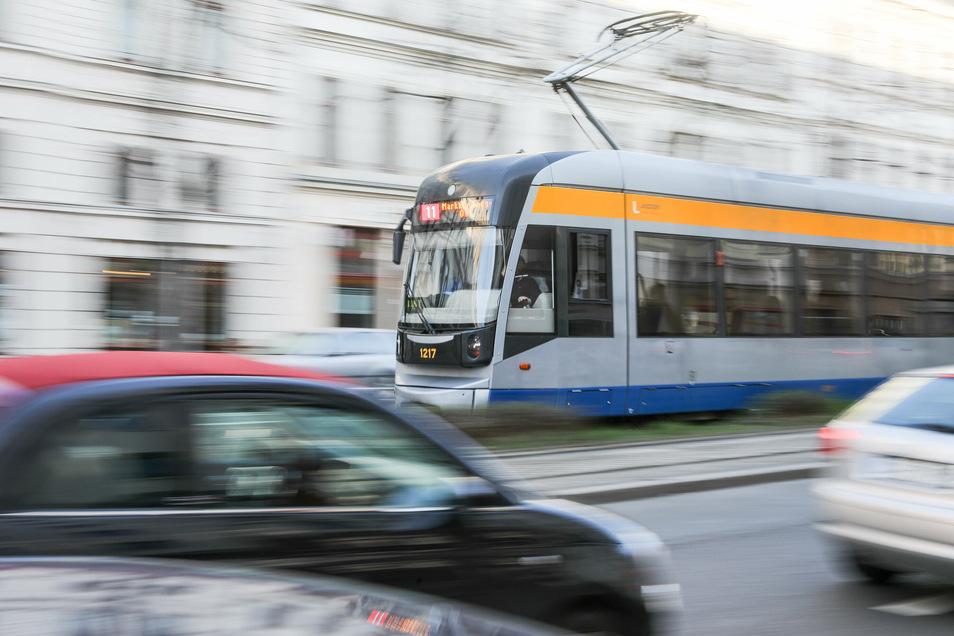 Eine Straßenbahn in Leipzig