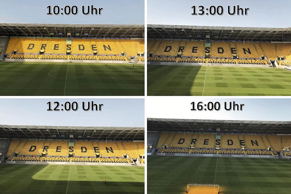 So hat die Stadionprojektgesellschaft die normale Sonneneinstrahlung im Rudolf-Harbig-Stadion dokumentiert. 16 Uhr ist die Belichtungsanlage auf der Schattenseite zu erkennen.