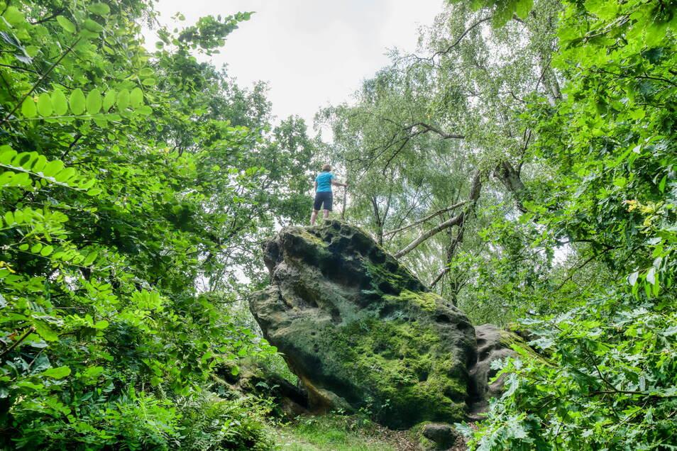 """Denkt bei diesem Anblick jemand an Caspar David Friedrich? Unterhalb der Kaiserkrone steht dieser Felsblock, auf den er einst seinen """"Wanderer über dem Nebelmeer"""" stellte. Foto: Ronald Bonss"""
