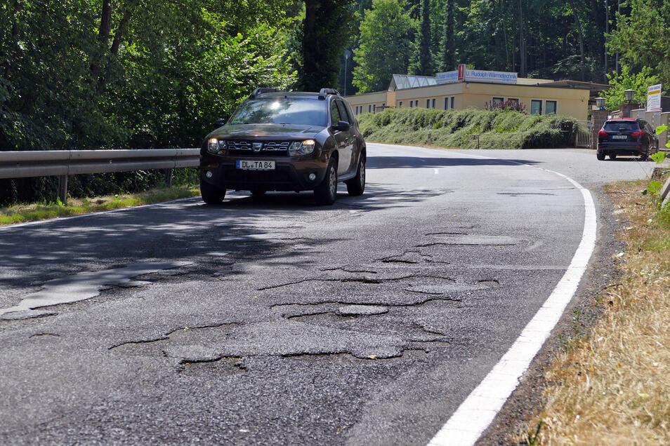 Die Sanierung des Abschnitts in Massanei und weiterführend bis zum Ortseingang Waldheim ist laut Lasuv nicht so dringlich.