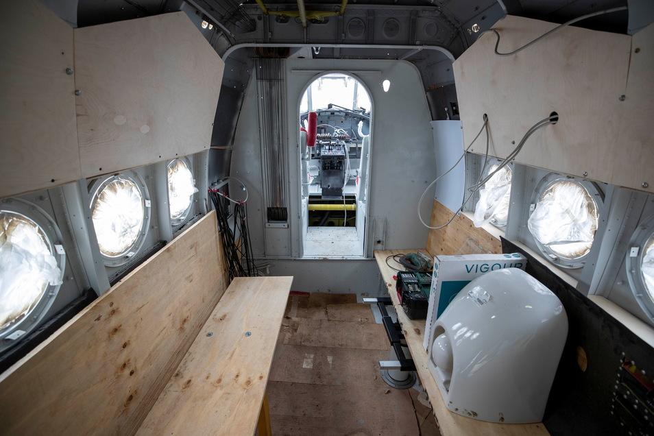 Der Innenausbau der Antonov hat inzwischen begonnen. Hier sollen einmal vier Personen nächtigen können.