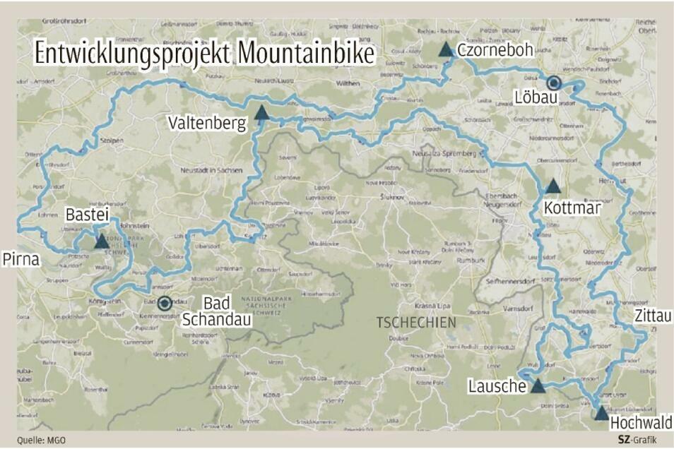 Etwa 300 Kilometer lang ist die Mountainbike-Strecke, die künftig von Pirna nach Zittau und wieder zurückführen soll.