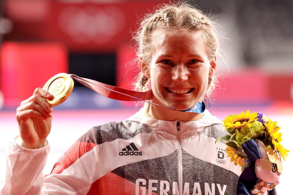Aline Rotter-Focken kam nach ihrem Sieg gar nicht mehr aus dem Grinsen heraus.