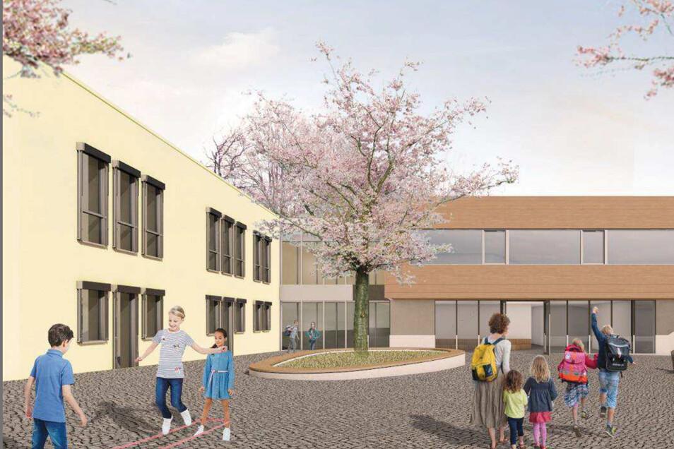 Eins von mehreren Großprojekten der Stadt Radeberg ist der Schulcampus in Liegau-Augustusbad. Nach einem Vorschlag der Planer wird der Neubau (re.) an das bestehende Gebäude der Förderschule angefügt.