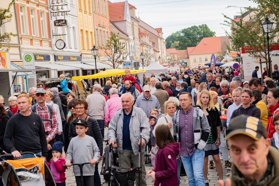 Auf dem Großenhainer Bauernmarkt sind am Sonntag bei herrlichem Wetter viele Besucher unterwegs.