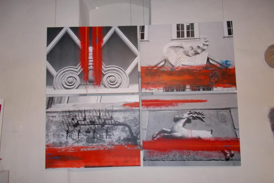 """""""In Bewegung"""" heißt diese Arbeit aus Alu-Platten, Acrylfarben, Chinatusche und Noppenfolie, die vom Österreicher J. F. Sochurek geschaffen wurde."""
