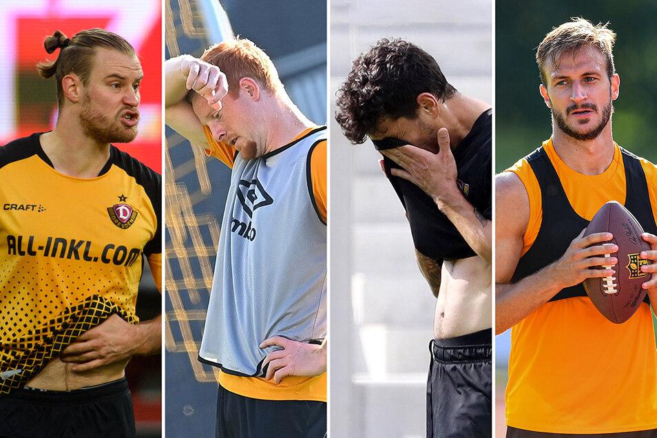 Sebastian Mai, Paul Will, Philipp Hosiner und Pascal Sohm (v. l.) sind derzeit bei Dynamo hintendran. Bekommen sie ihre Chance?