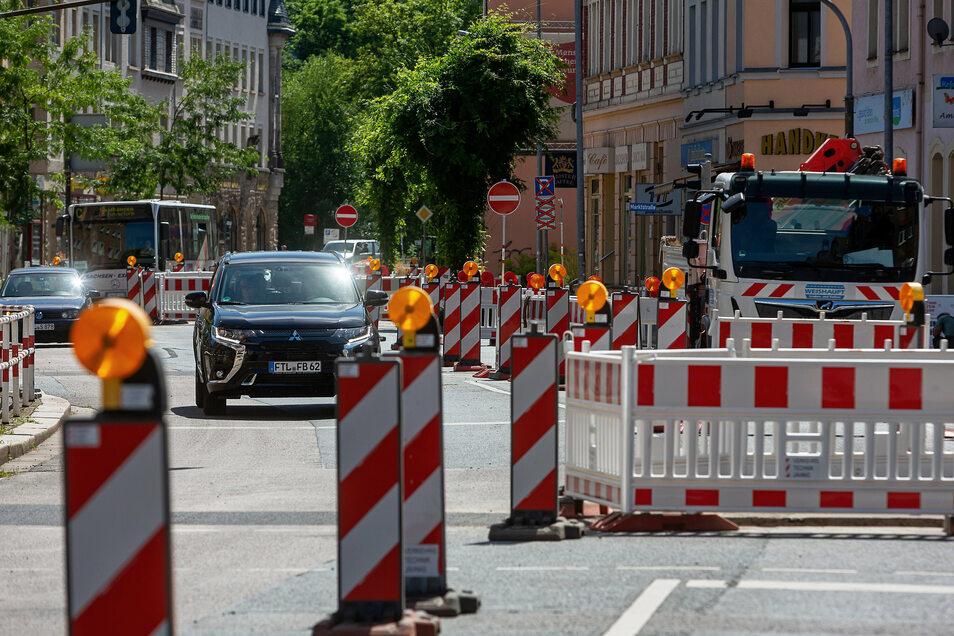 Seit Mitte Juli wurde auf der Dresdner Straße in Potschappel und Döhlen gebaut - schneller als geplant.