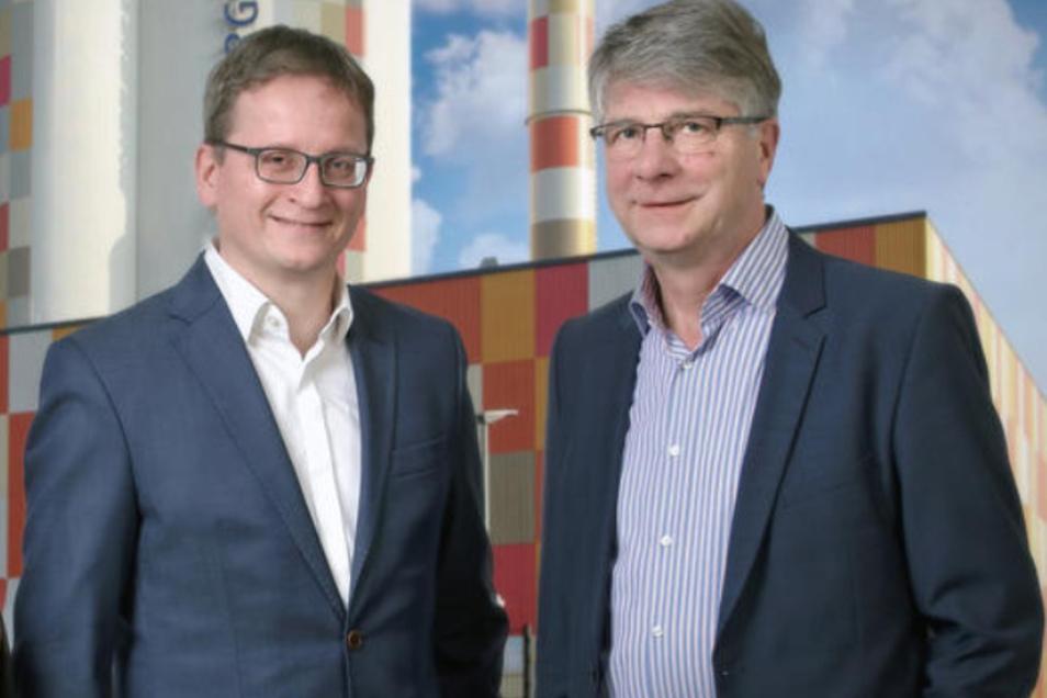 Der EWB-Chef Kai Kaufmann (l.) und sein Vorgänger Volker Bartko.
