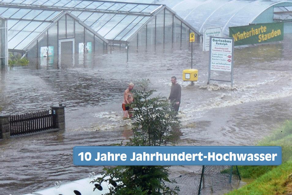 Die Gewächshäuser der Gärtnerei Rudolph in Hainewalde stehen am 7. August 2010 unter Wasser.