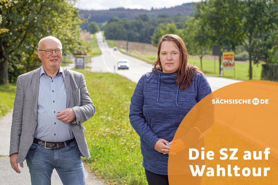 Cunewaldes Bürgermeister Thomas Martolock (CDU) und Anja Hennersdorf, Vorsitzende des SPD-Ortsverbands Bischofswerda und Umgebung, sind sich in der Sache einig. Beide wollen die B-96-Protestler, die nicht für die Demokratie verloren sind, erreichen.