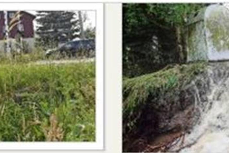 Heute (li.) wächst hier Gras vor dem Landmarkt in Sadisdorf, nichts erinnert mehr an den Unwettersonntag vor fünf Jahren. Damals (re.) trat der Ochsenbach über die Ufer und spülte an derselben Stelle die Straßenböschung aus.