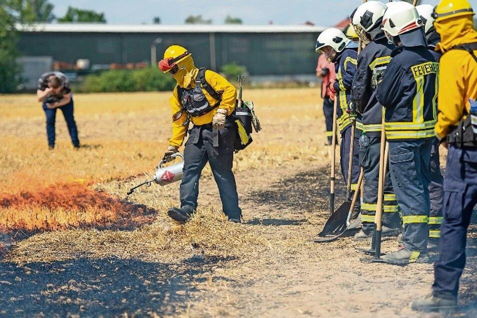 Die Feuerwehren aus Coswig und die Cossebaude üben auf einem Feld bei Neusörnewitz gemeinsam das Bekämpfen eines Feldbrandes. Dabei bekommen sie fachkundige Unterstützung von Spezialisten des Vereins @fire.