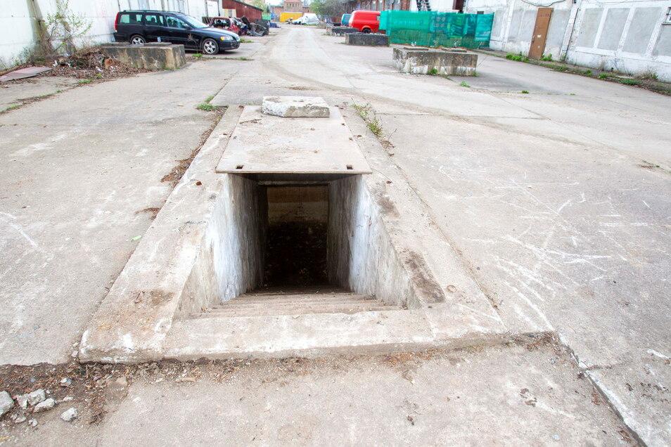Unspektakulär und sonst mit schweren Steinplatten verdeckt: Der Eingang zu dem Bunker auf dem Heidenauer Mafa-Gelände.