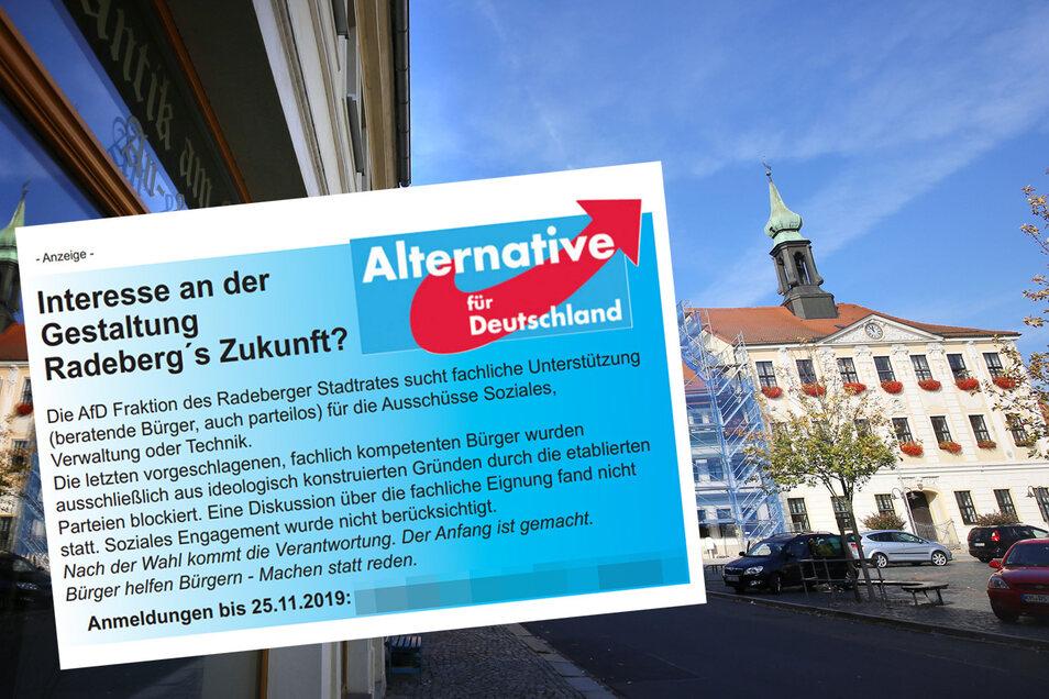 Diese Anzeige sorgt in Radeberg für Gesprächsstoff.