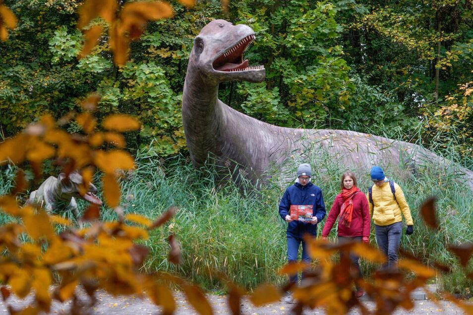 Herbst im Bautzener Saurierpark: Noch für etwa vier Wochen ist der Park in Kleinwelka geöffnet.