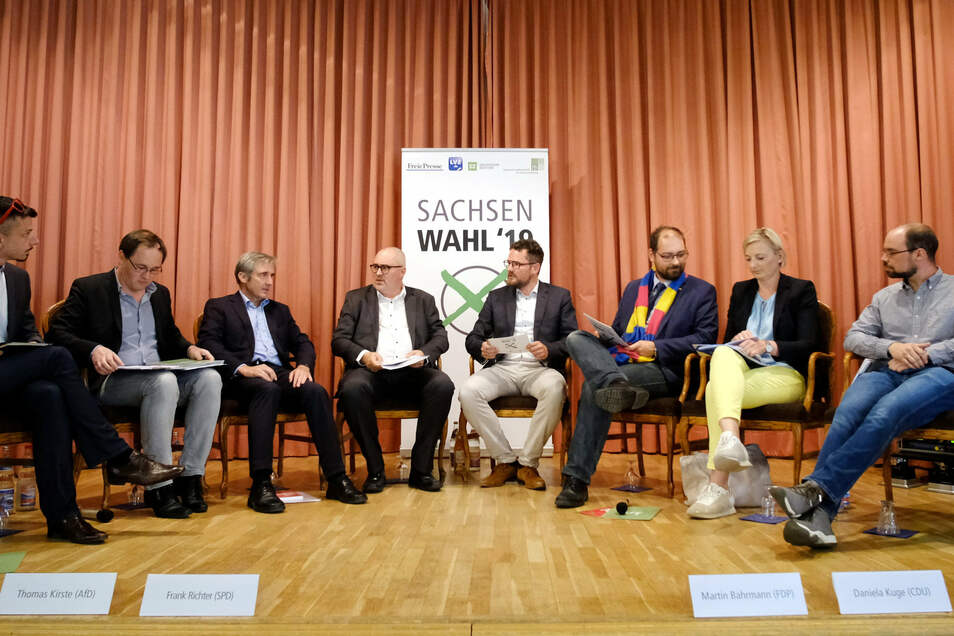 V.l.:Tilo Hellmann (Die Linke), Thomas Kirste (AfD), Frank Richter (parteiloser SPD-Kandidat), Ulf Mallek, (Moderator), Peter Anderson (Moderator), Martin Bahrmann (FDP), Daniela Kuge (CDU) und Martin Wengenmayr (Bündnis 90/Die Grünen).