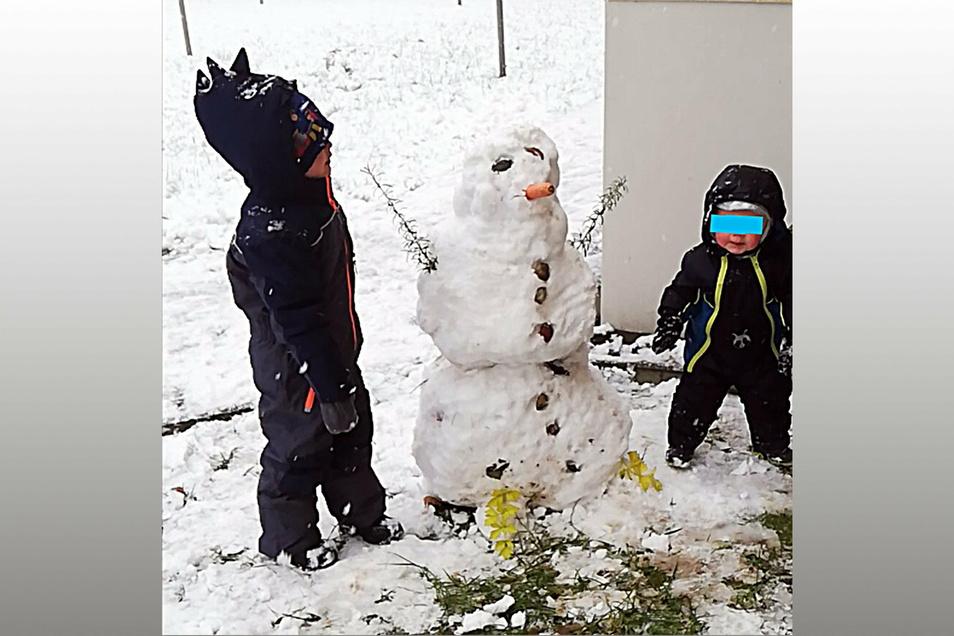 Lennox Hosang (4) und sein Bruder Louis (1) haben Rosmarin als Arme und Sellerieblätter als Beine verwendet.