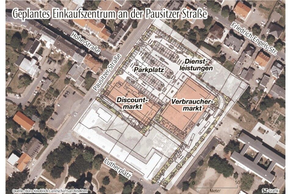 So sehen die Pläne für die Entwicklung des Widmann-Areals samt Nachbarflächen aus: Ein Discountermarkt (Aldi) und ein Verbrauchermarkt (Edeka) sollen entstehen. Für das Projekt müssten Feuerwehr-Gerätehaus und die städtische Turnhalle weichen.